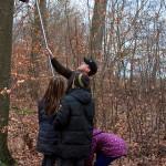 Heiko hängt den Nistkasten wieder an den Baum.