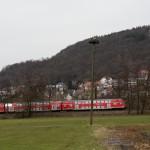 2 Der Auenmast, dahinter verläuft die Bahnlinie Frankfurt-Fulda