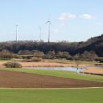 Blick in die Bornwiesen Mitte März, große Teile stehen unter Wasser